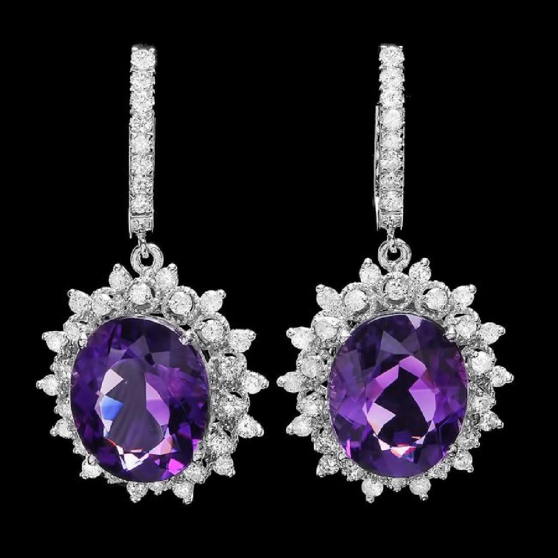 14k Gold 15.00ct Amethyst 2.00ct Diamond Earrings - 2