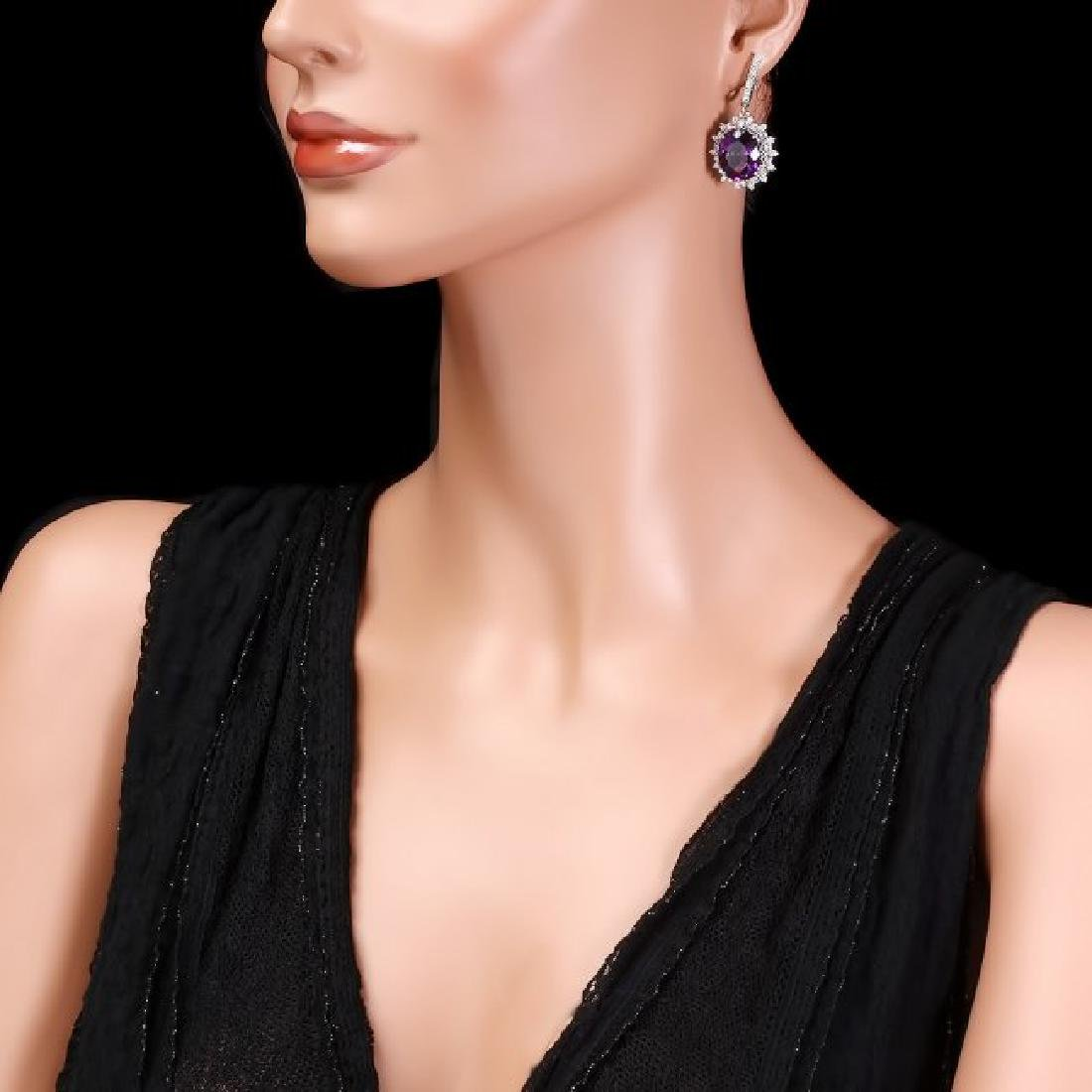 14k Gold 15.00ct Amethyst 2.00ct Diamond Earrings - 3