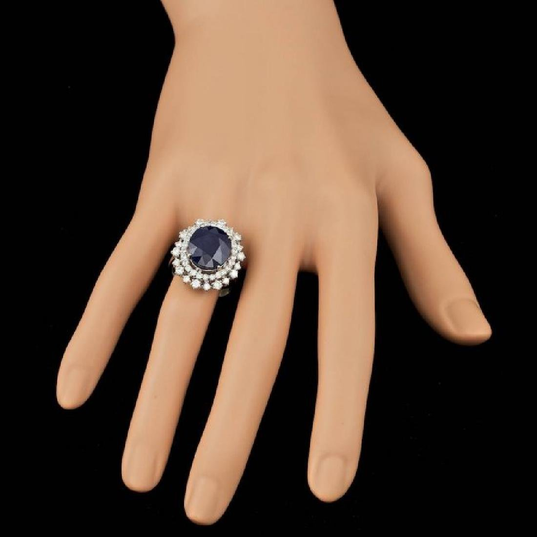14k Gold 8.50ct Sapphire 1.50ct Diamond Ring - 3