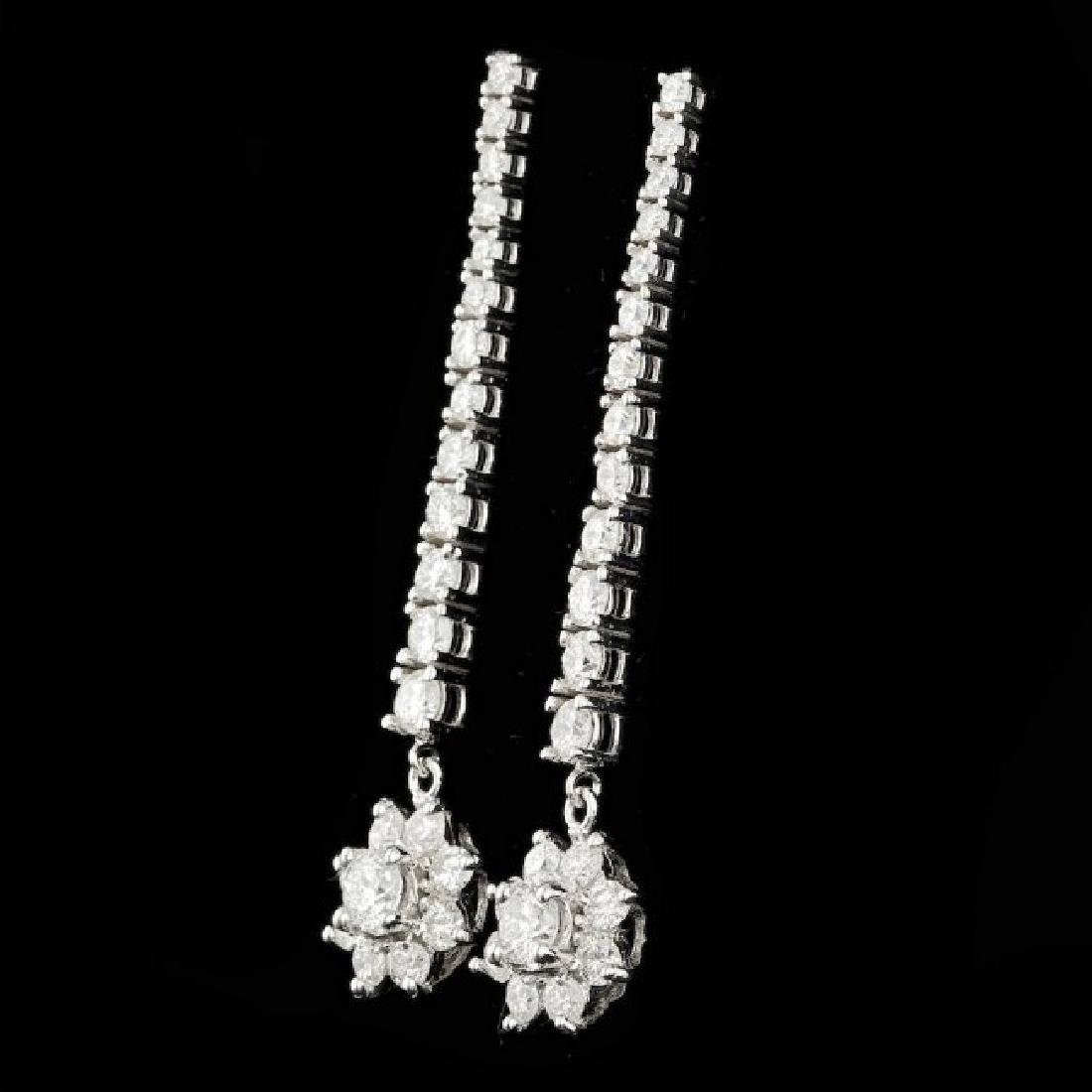 14k White Gold 3.65ct Diamond Earrings - 2