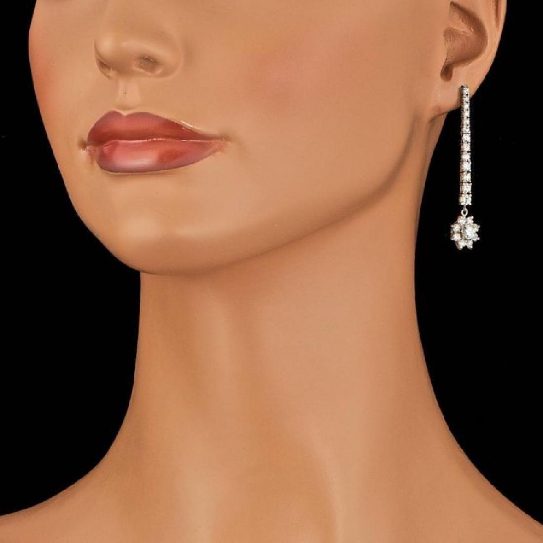14k White Gold 3.65ct Diamond Earrings - 4