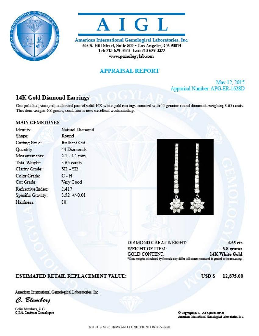 14k White Gold 3.65ct Diamond Earrings - 5