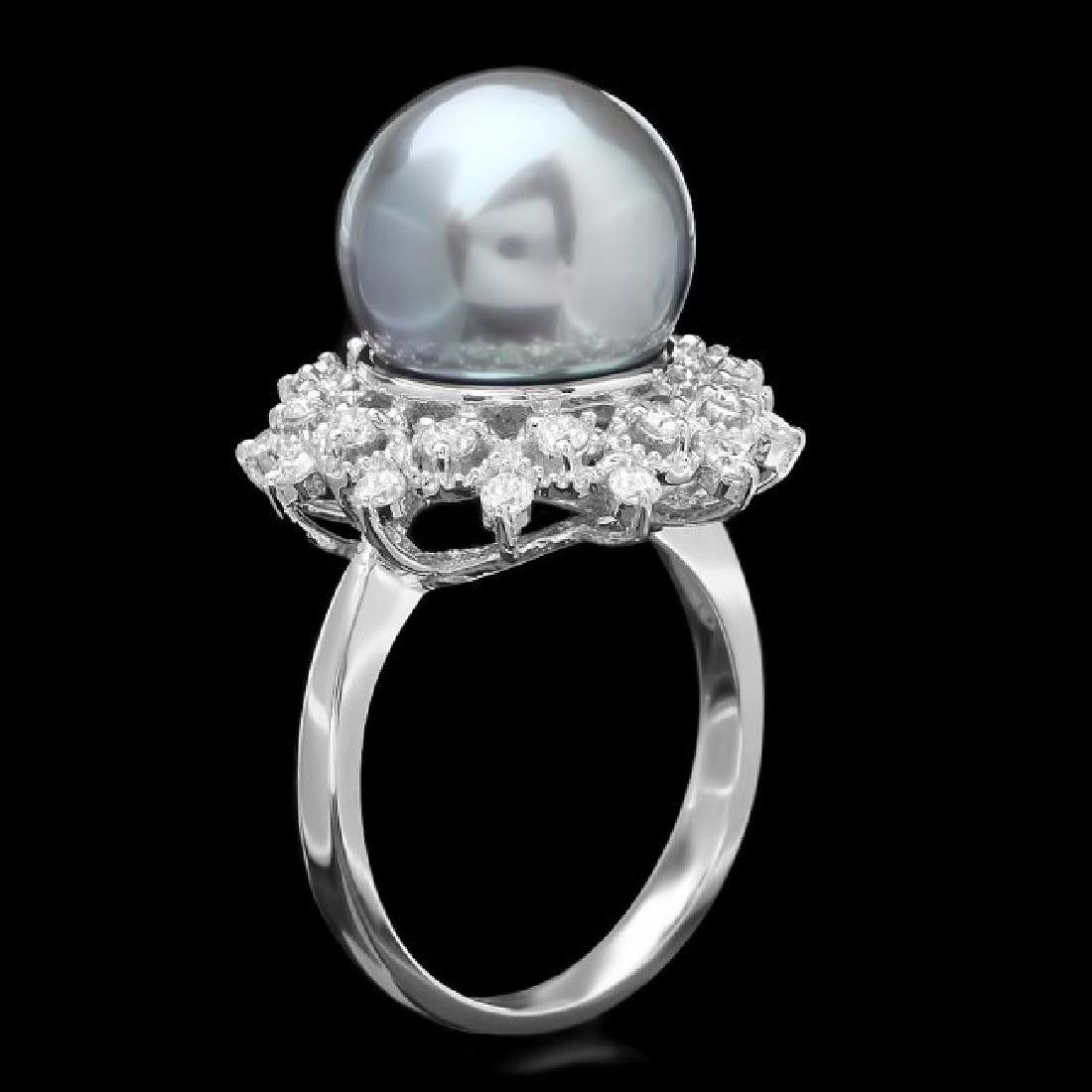 14k Gold 12 X 12mm Pearl 0.60ct Diamond Ring - 2