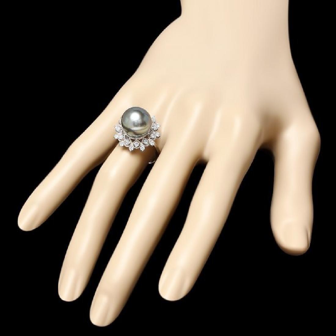 14k Gold 12 X 12mm Pearl 0.60ct Diamond Ring - 3