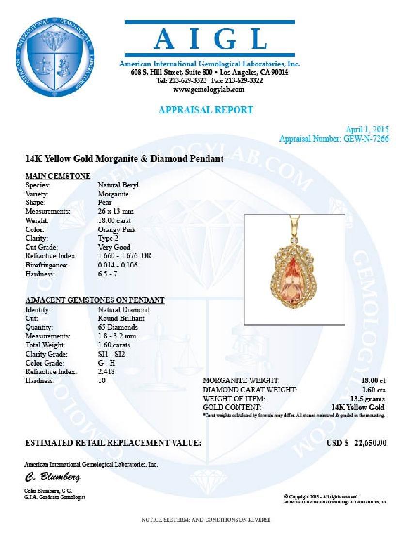 14k Gold 18ct Morganite 1.6ct Diamond Pendant - 4