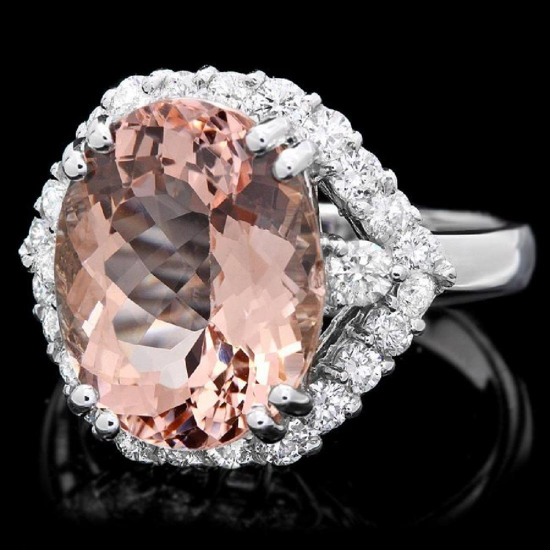 14k Gold 6.00ct Morganite 1.00ct Diamond Ring