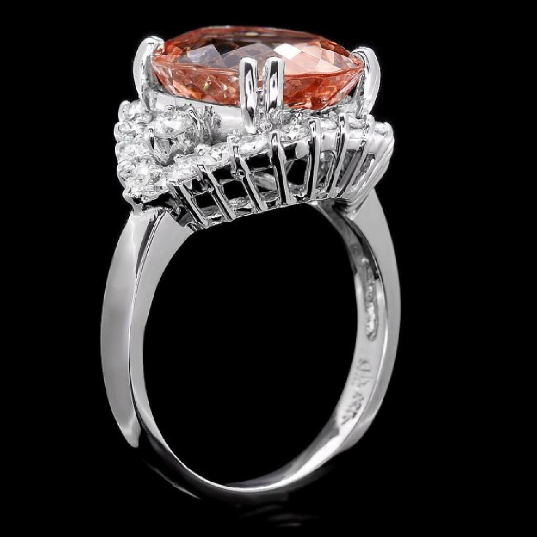 14k Gold 6.00ct Morganite 1.00ct Diamond Ring - 2
