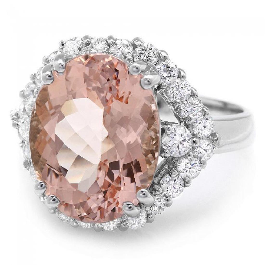 14k Gold 6.00ct Morganite 1.00ct Diamond Ring - 3