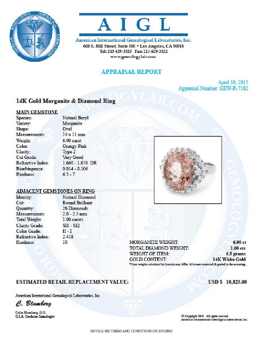 14k Gold 6.00ct Morganite 1.00ct Diamond Ring - 5