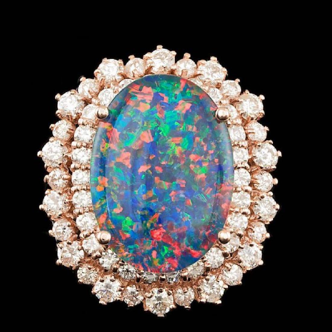 14k Rose Gold 6.00ct Opal 2.00ct Diamond Ring