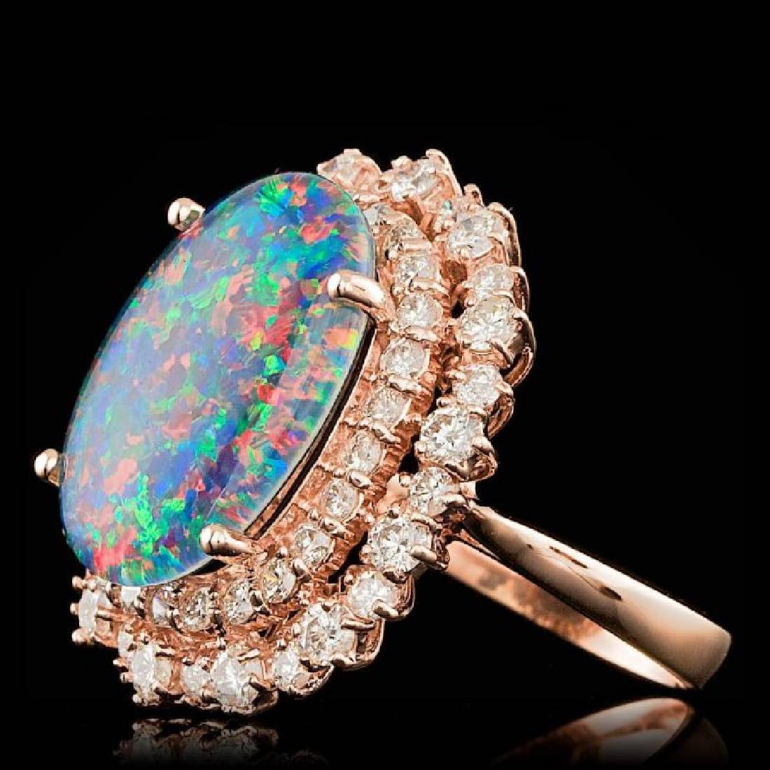 14k Rose Gold 6.00ct Opal 2.00ct Diamond Ring - 2