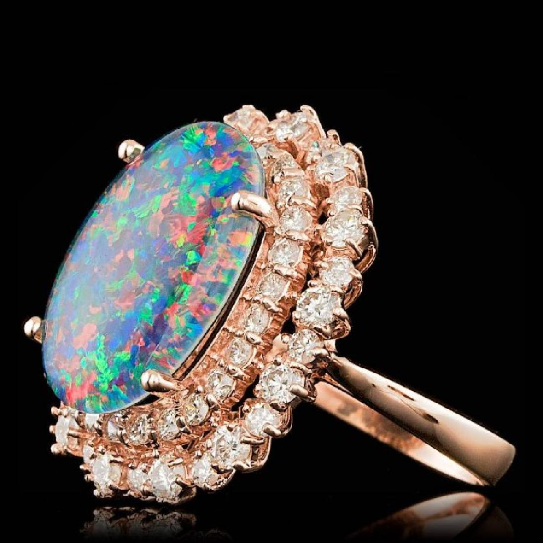 14k Rose Gold 6.00ct Opal 2.00ct Diamond Ring - 2