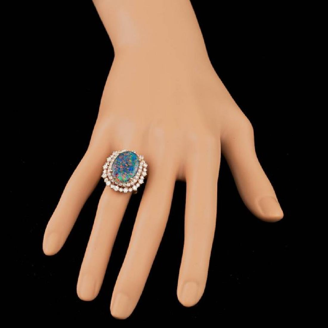 14k Rose Gold 6.00ct Opal 2.00ct Diamond Ring - 3