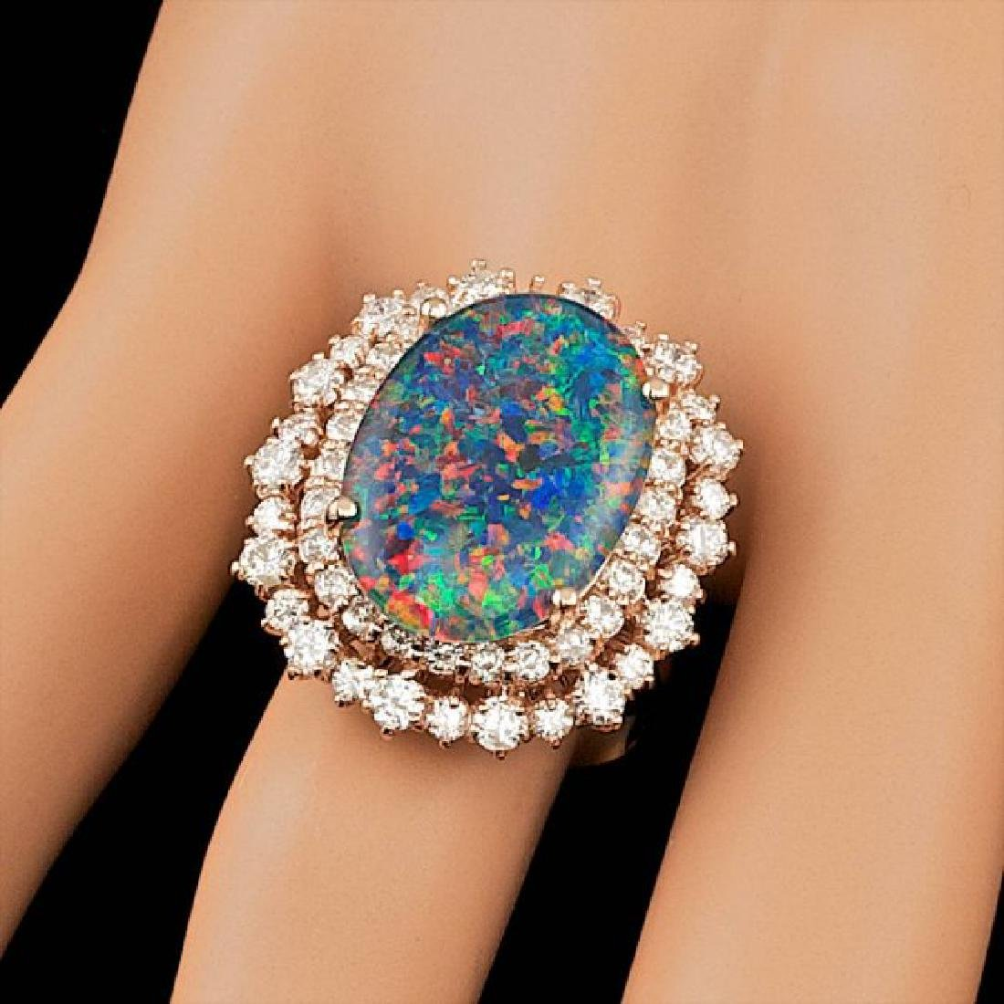 14k Rose Gold 6.00ct Opal 2.00ct Diamond Ring - 4