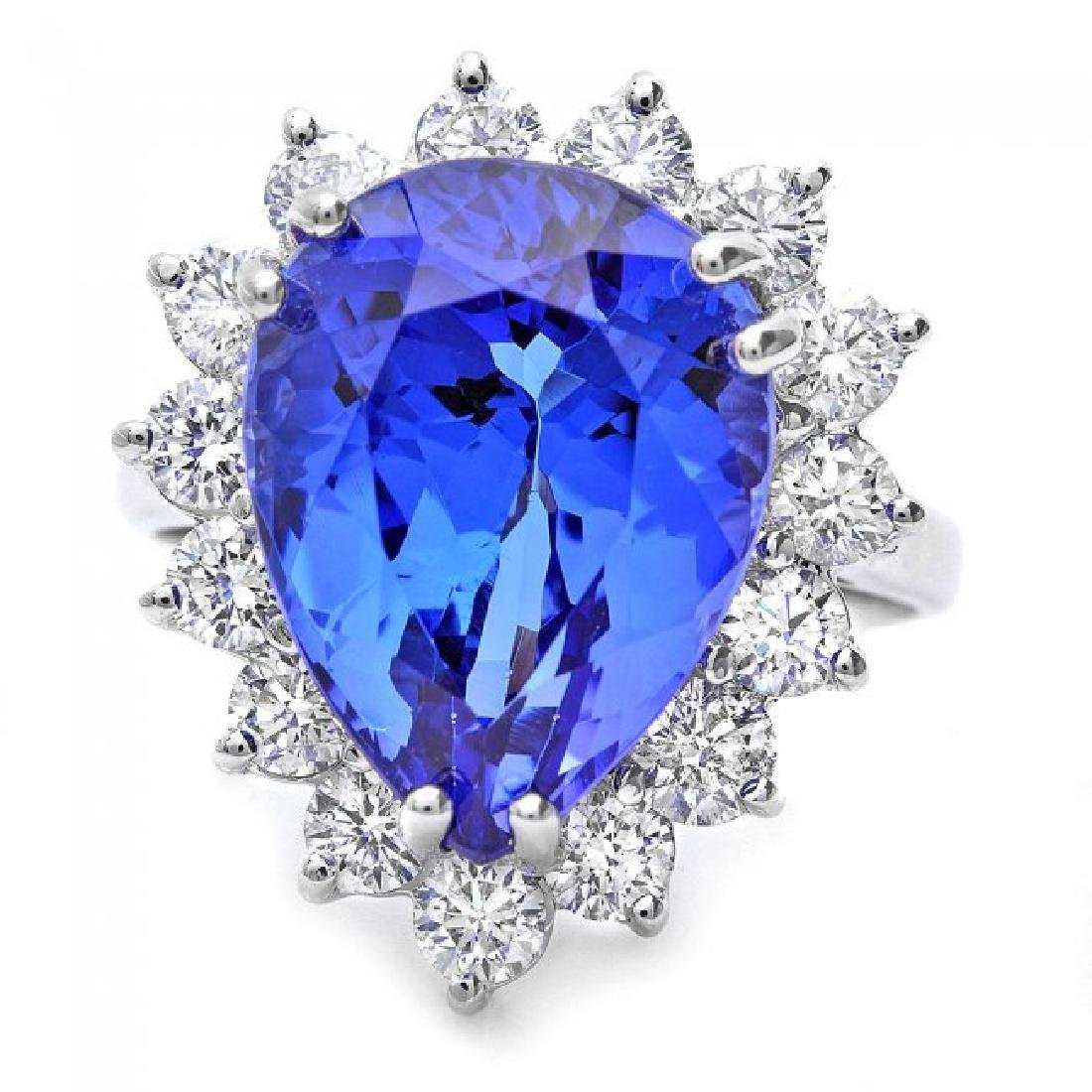 18k Gold 9.00ct Tanzanite 1.35ct Diamond Ring - 2