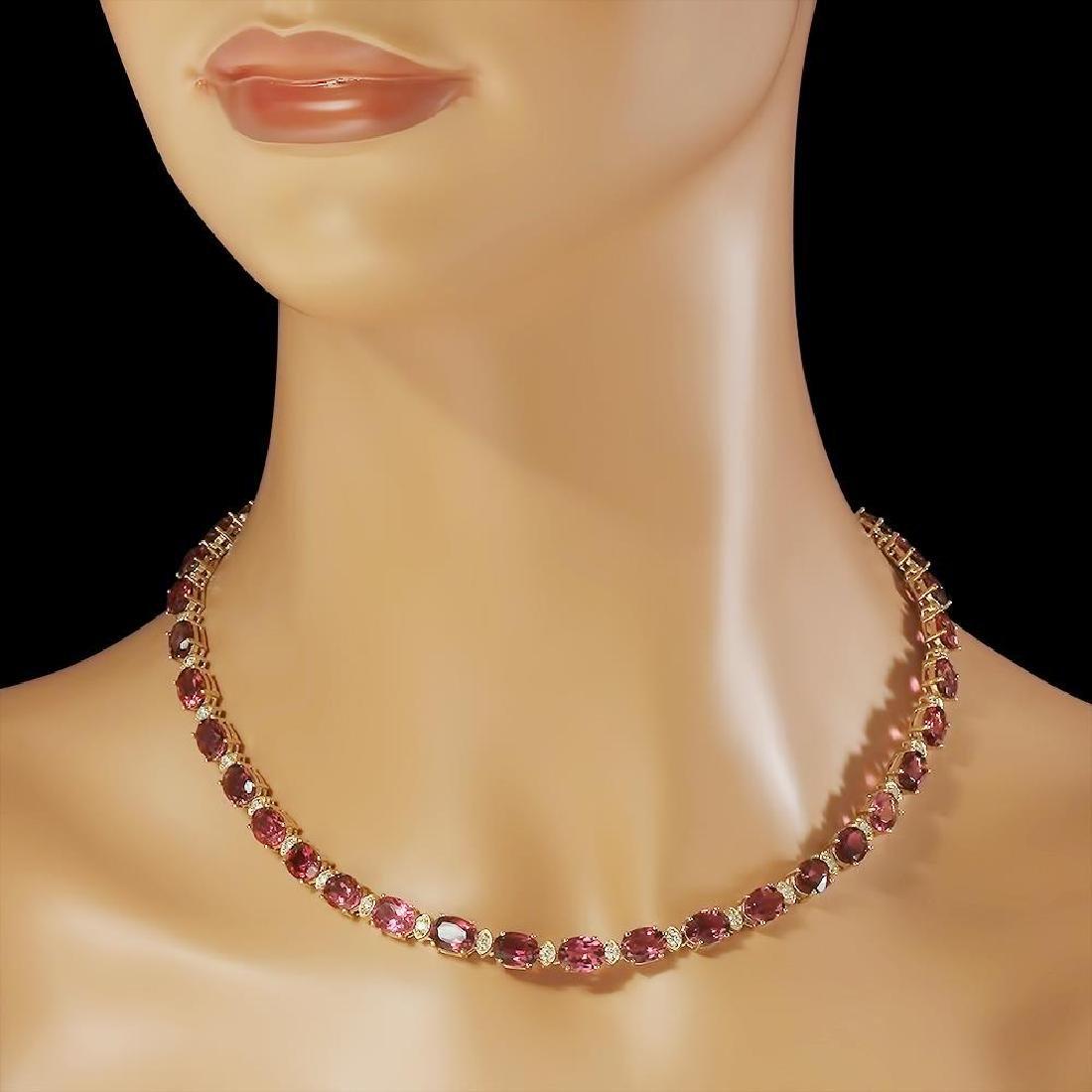 14K Gold 44.66ct Tourmaline 1.93ct Diamond Necklace - 3