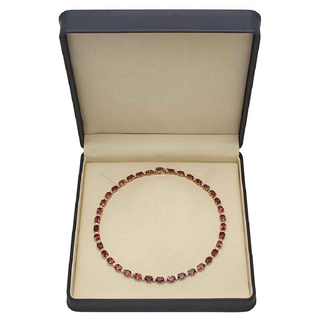 14K Gold 44.66ct Tourmaline 1.93ct Diamond Necklace - 4