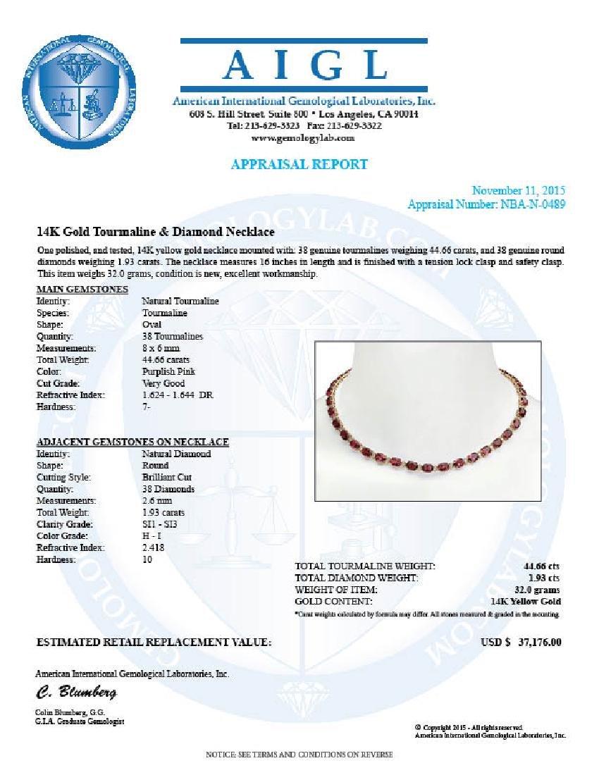 14K Gold 44.66ct Tourmaline 1.93ct Diamond Necklace - 5