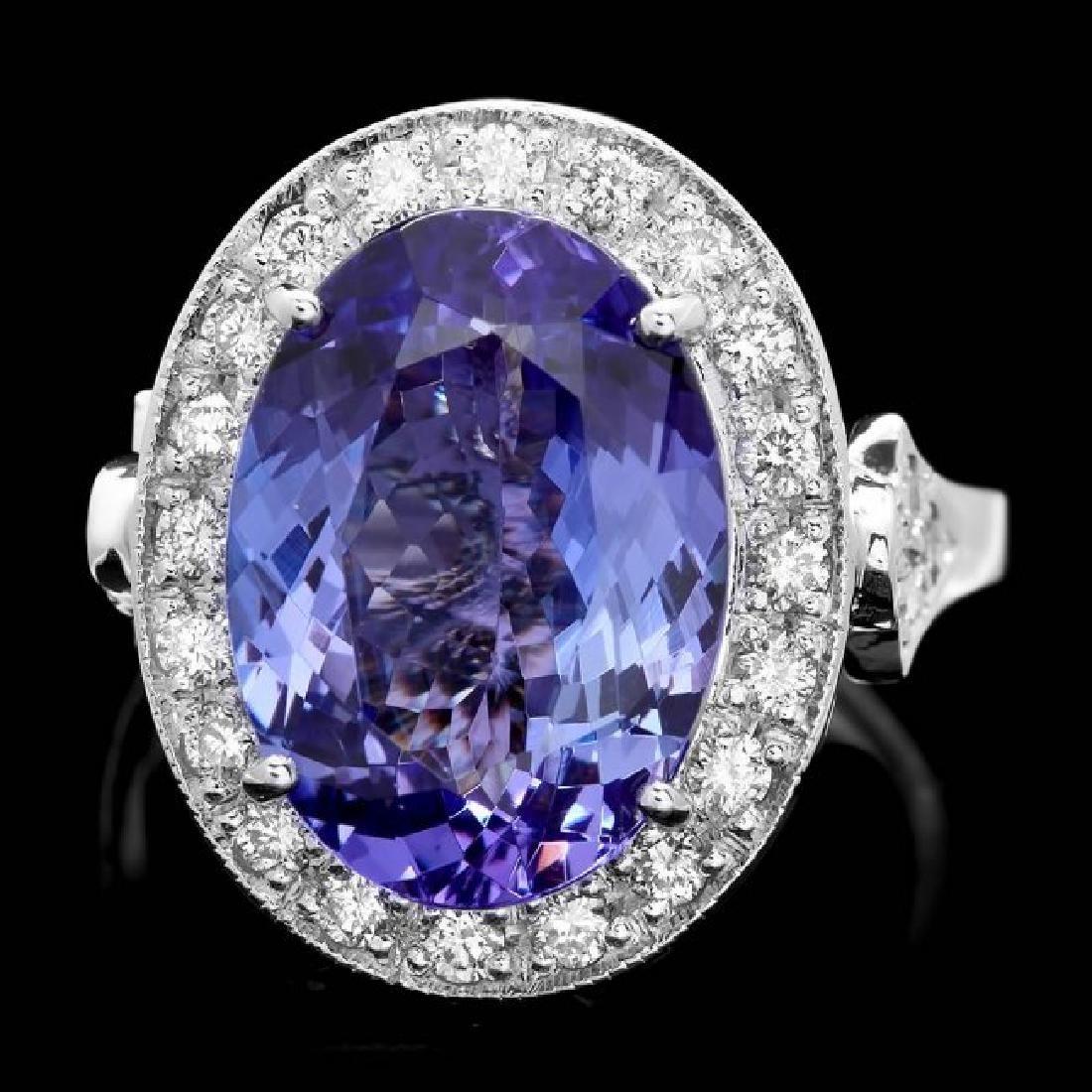 14k Gold 7.00ct Tanzanite 0.70ct Diamond Ring