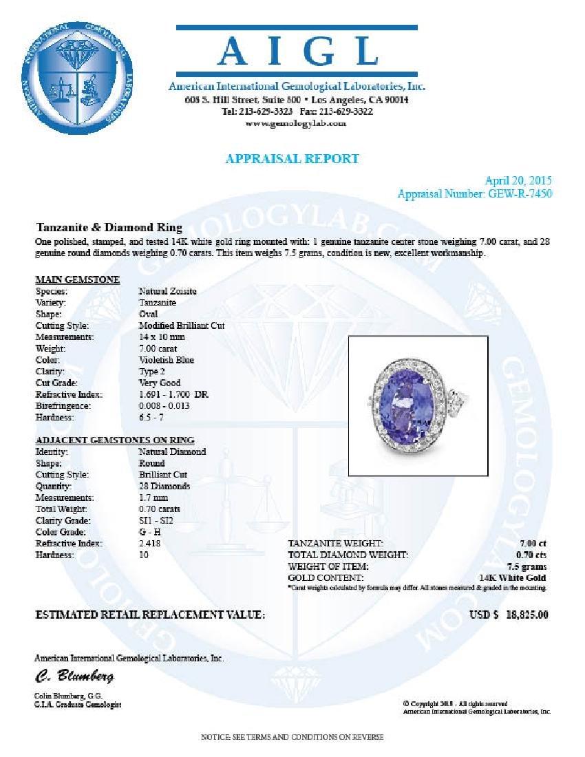 14k Gold 7.00ct Tanzanite 0.70ct Diamond Ring - 6