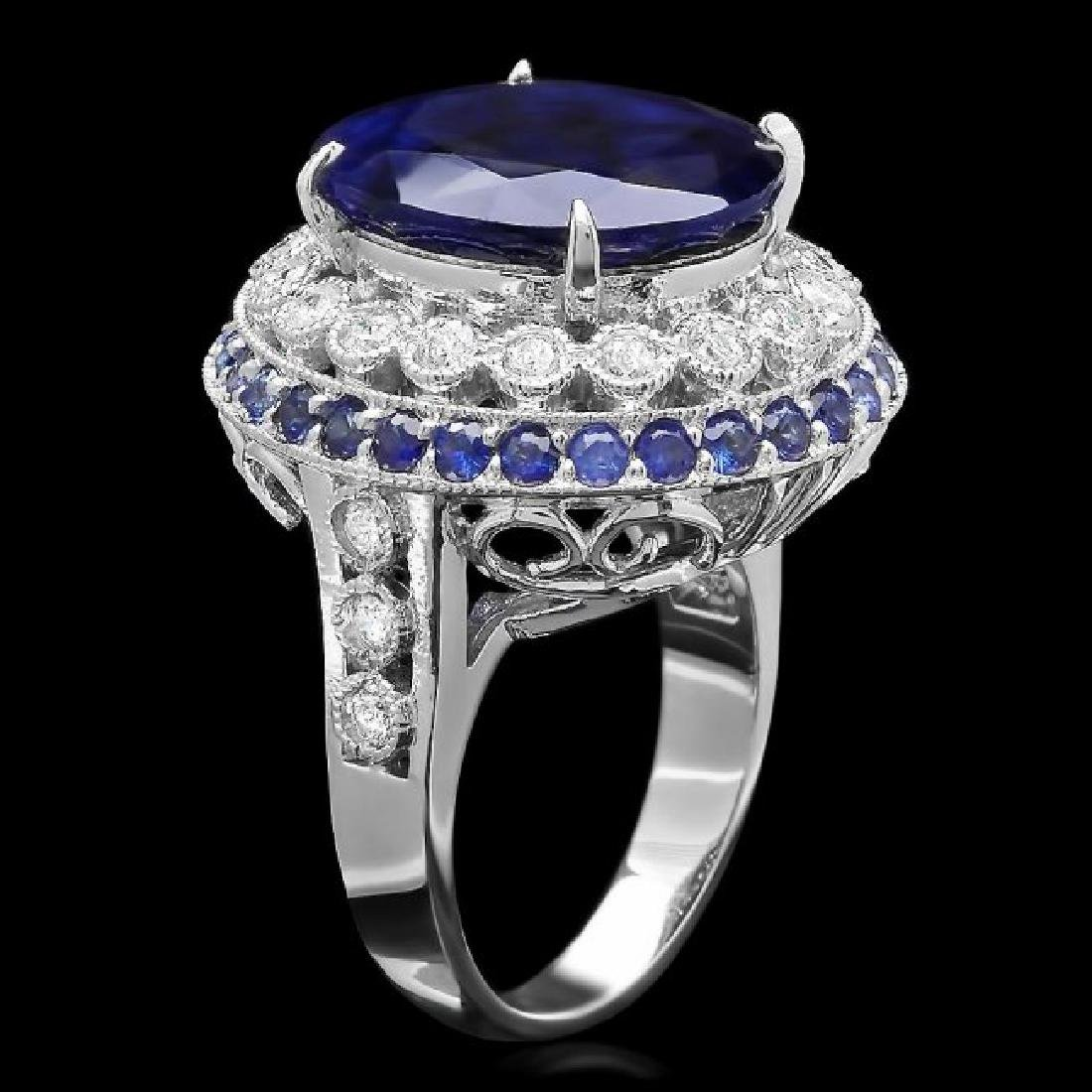 14k Gold 14.7ct Sapphire 0.80ct Diamond Ring - 2