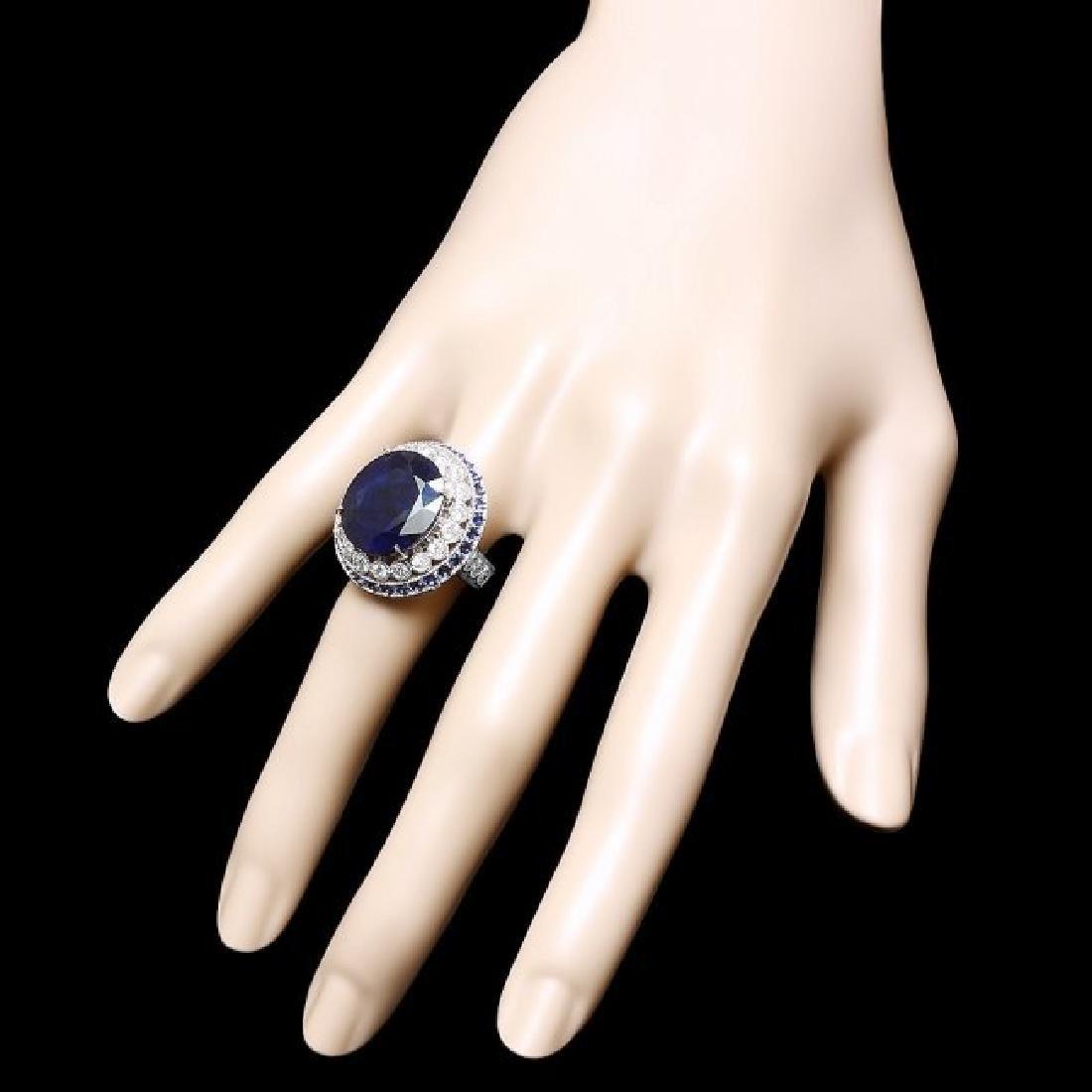 14k Gold 14.7ct Sapphire 0.80ct Diamond Ring - 3