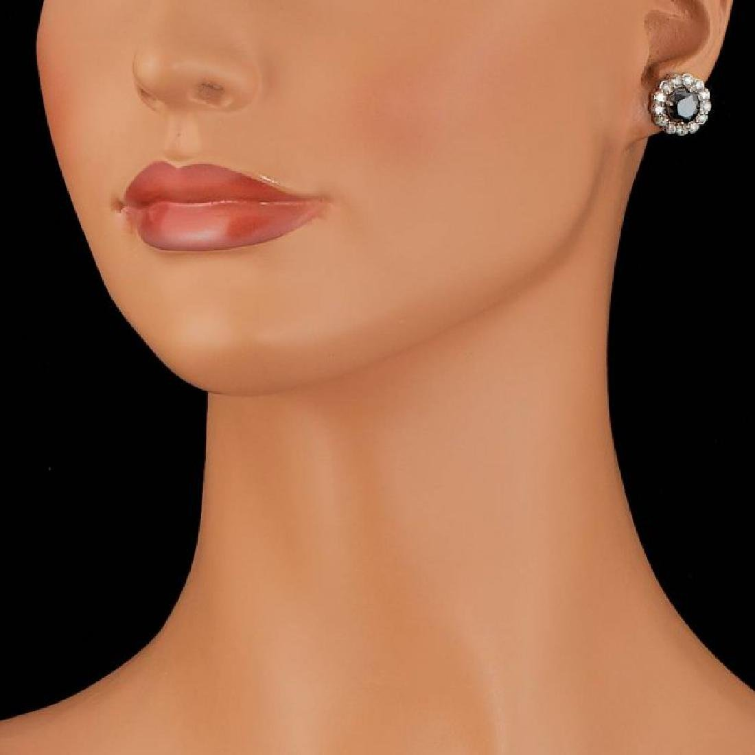 14k White Gold 6ct Diamond Earrings - 3