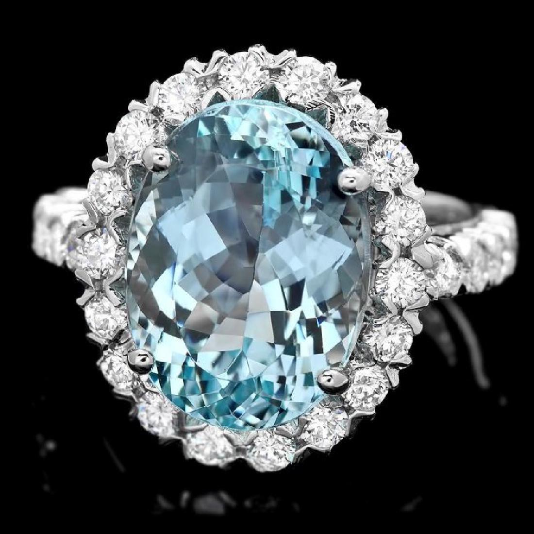 14k Gold 7.70ct Aquamarine 1.27ct Diamond Ring