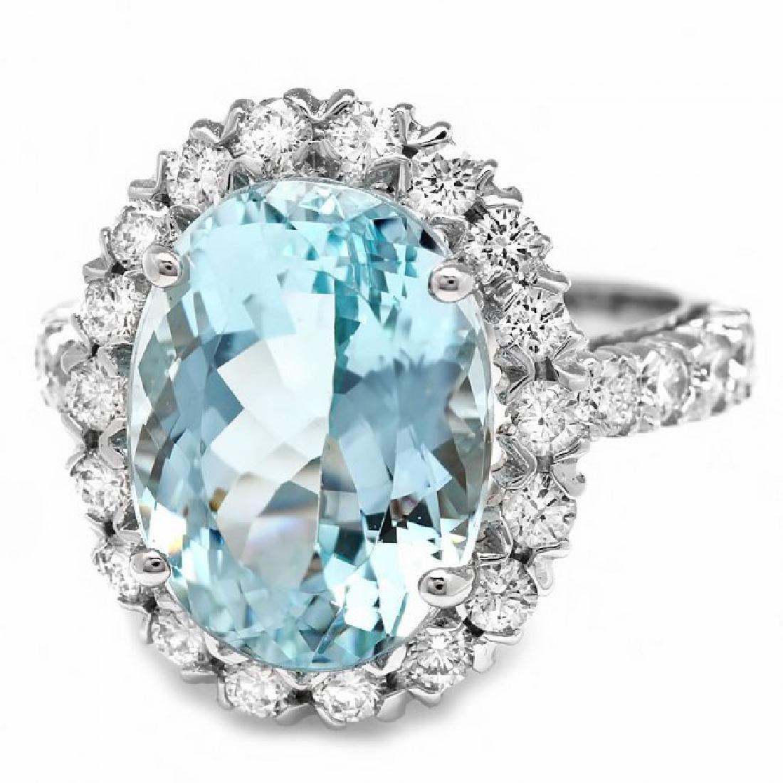 14k Gold 7.70ct Aquamarine 1.27ct Diamond Ring - 2