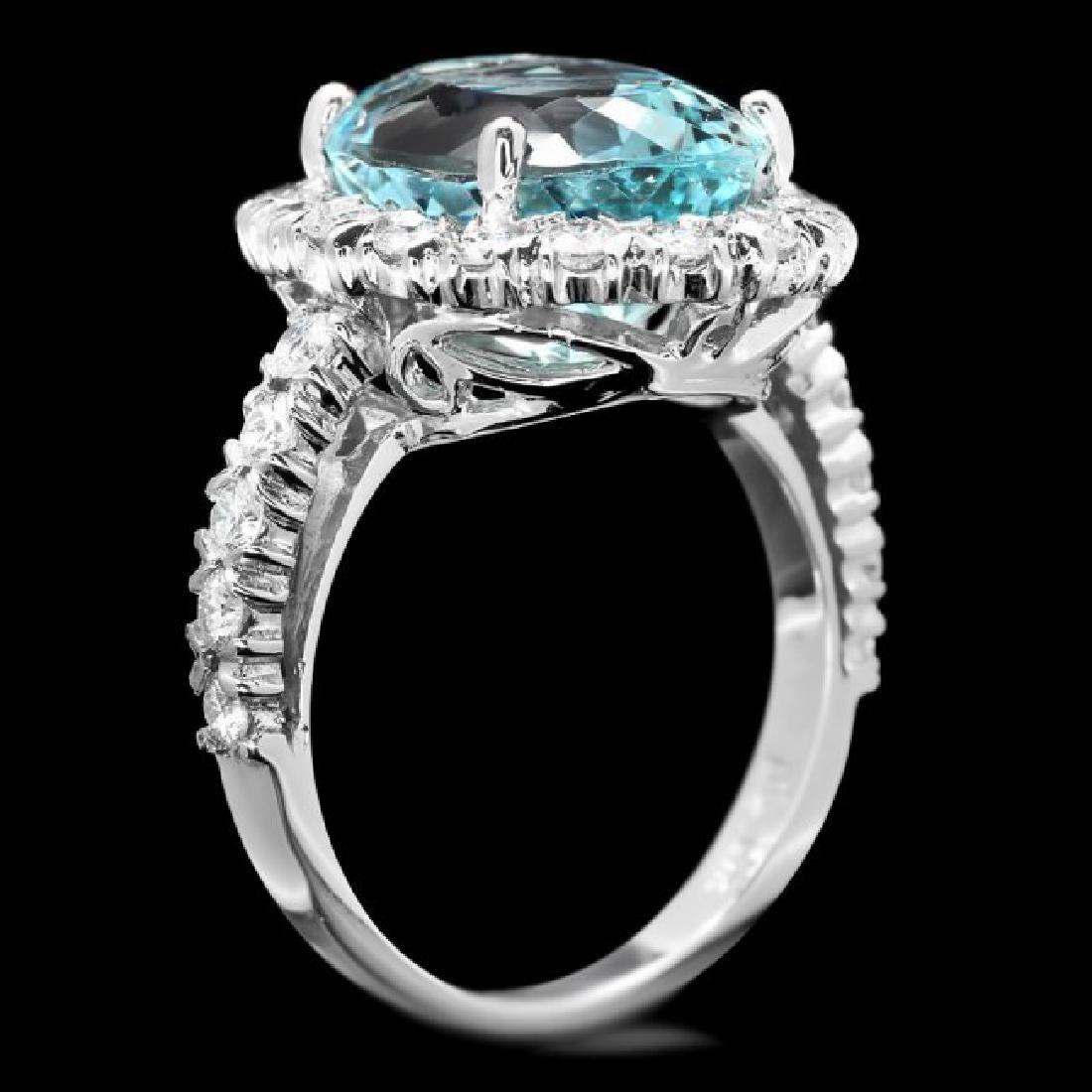 14k Gold 7.70ct Aquamarine 1.27ct Diamond Ring - 3
