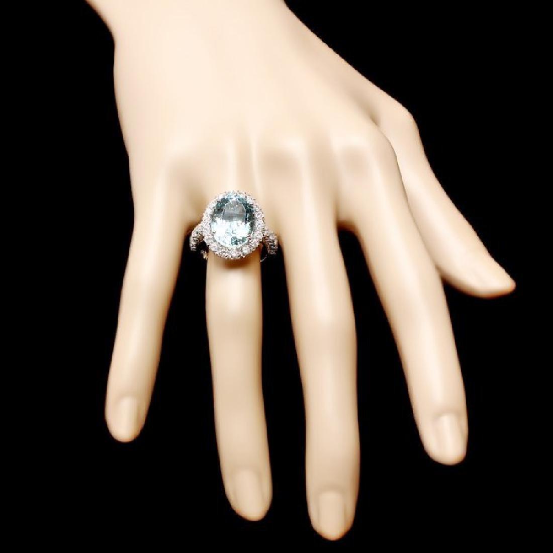 14k Gold 7.70ct Aquamarine 1.27ct Diamond Ring - 4