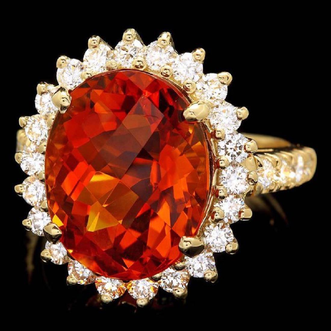 14k Gold 8.00ct Citrine 1.20ct Diamond Ring