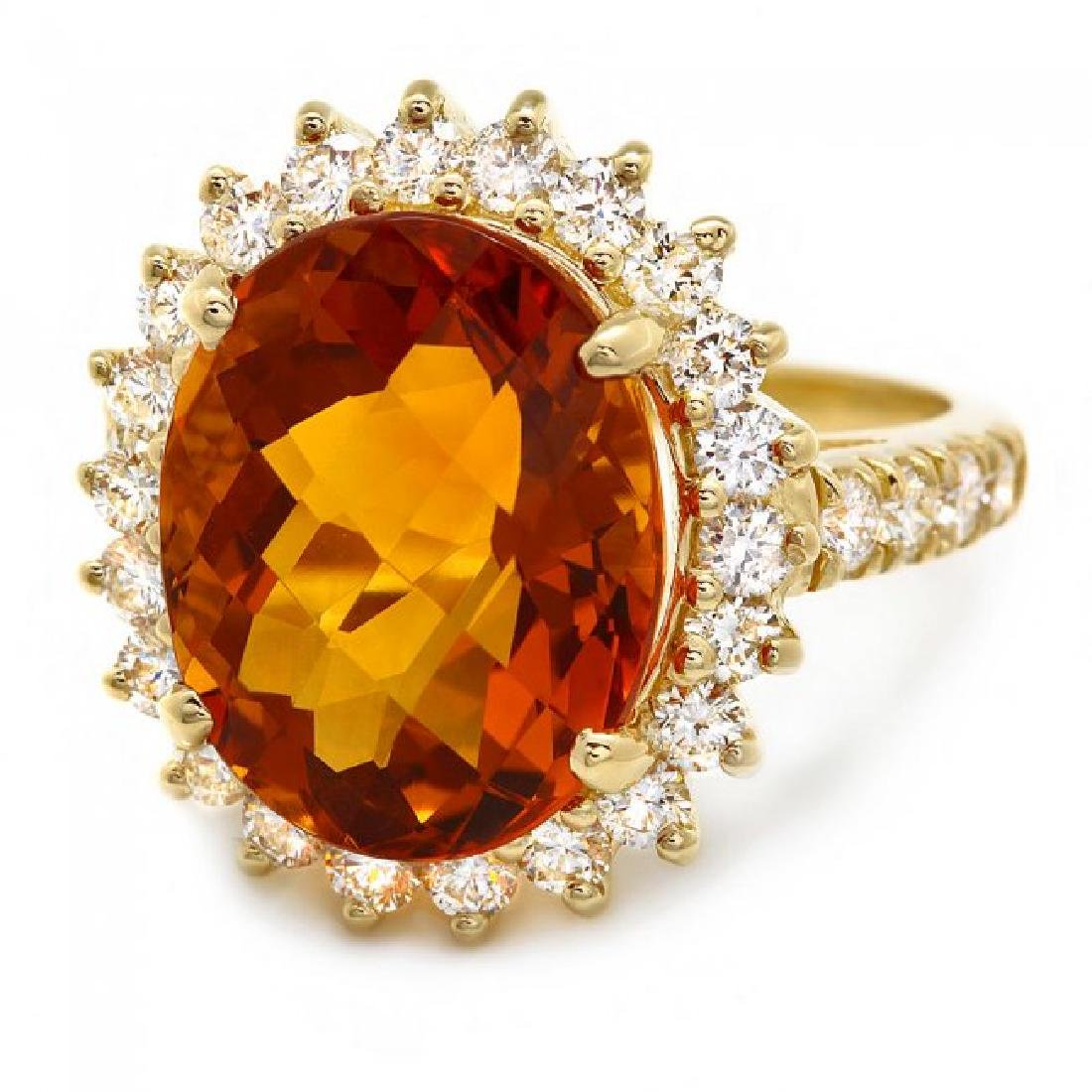 14k Gold 8.00ct Citrine 1.20ct Diamond Ring - 2
