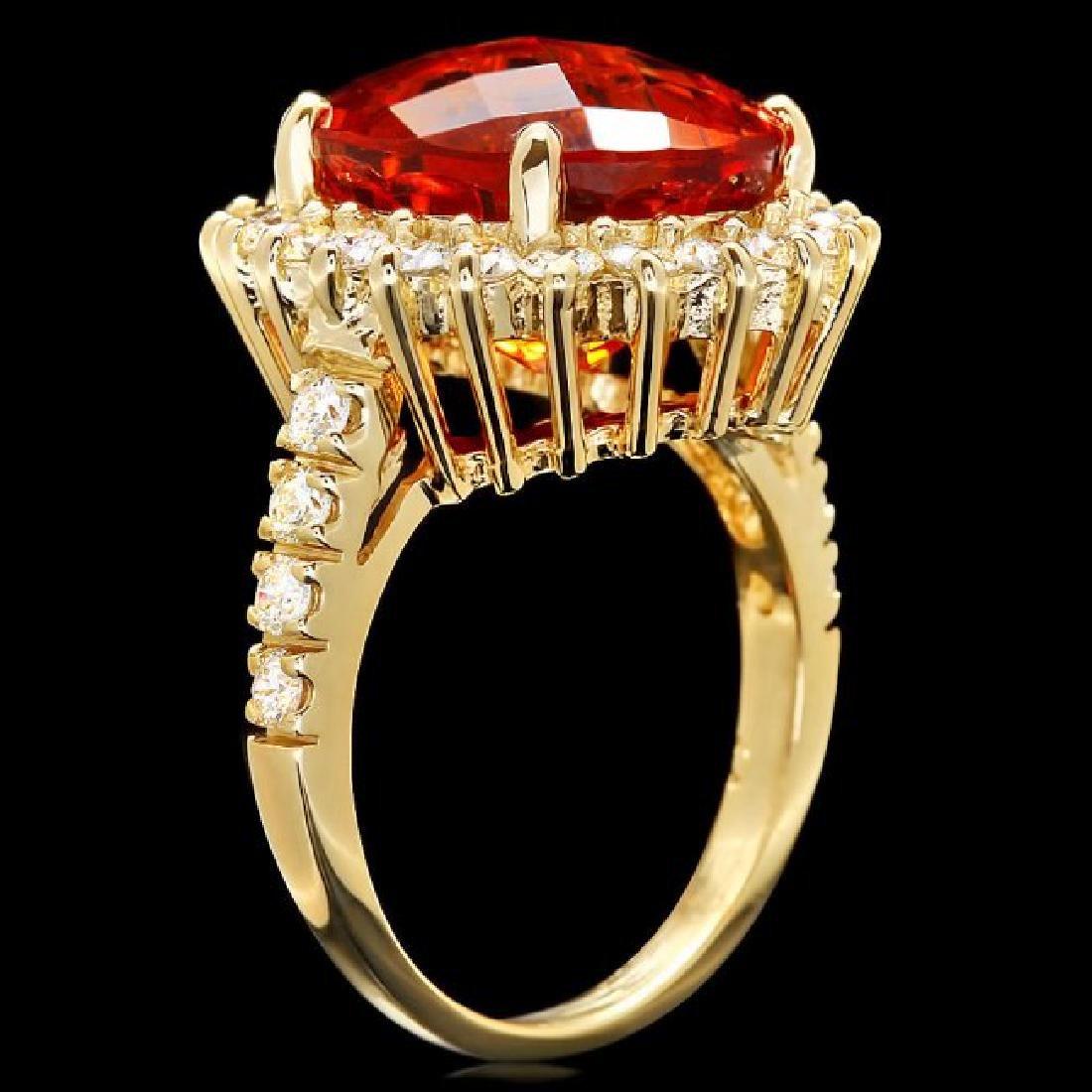14k Gold 8.00ct Citrine 1.20ct Diamond Ring - 3