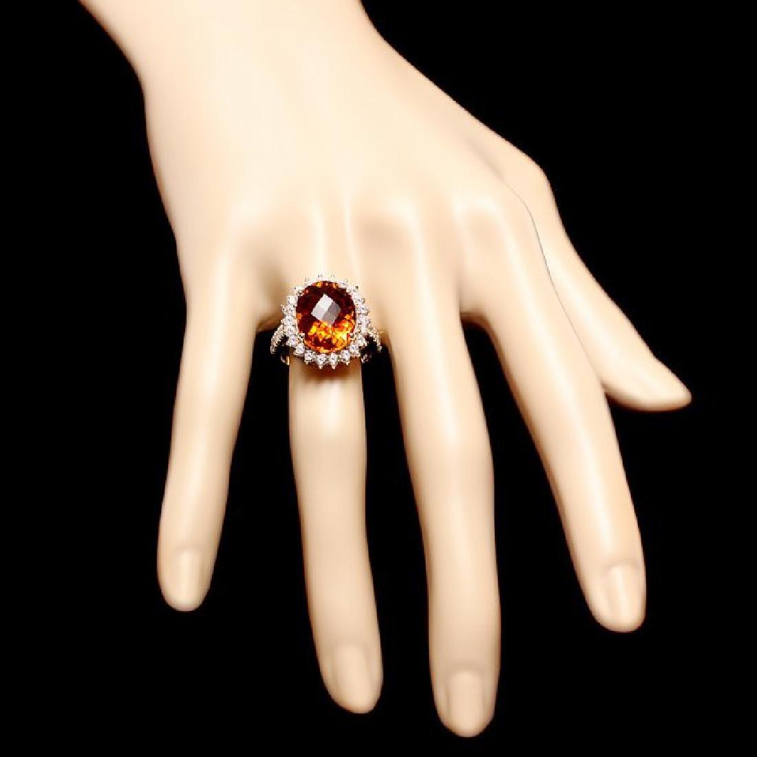 14k Gold 8.00ct Citrine 1.20ct Diamond Ring - 4