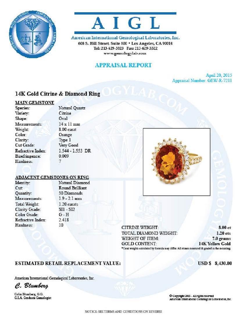 14k Gold 8.00ct Citrine 1.20ct Diamond Ring - 5