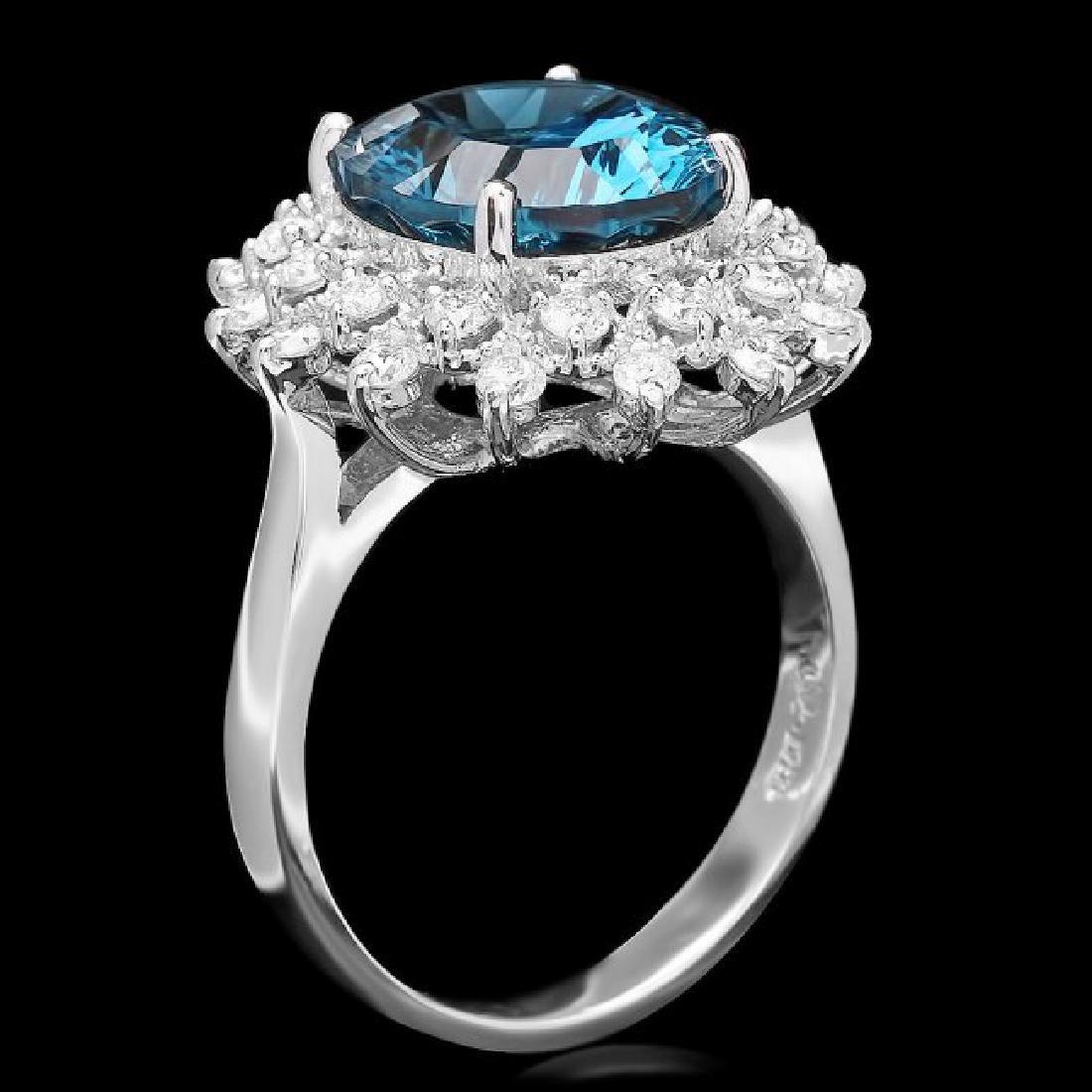 14k White Gold 5.50ct Topaz 0.70ct Diamond Ring - 2