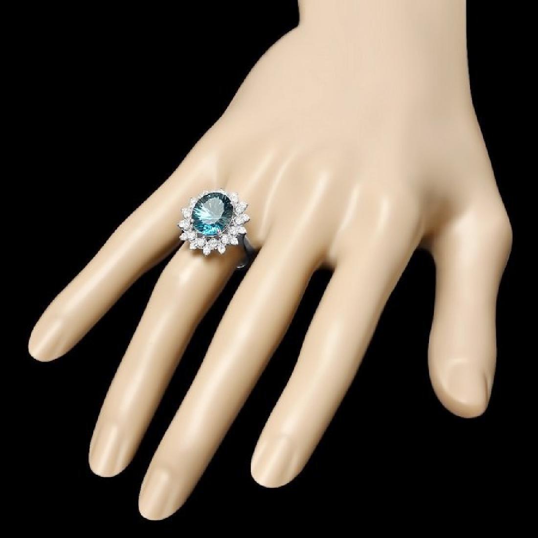 14k White Gold 5.50ct Topaz 0.70ct Diamond Ring - 3