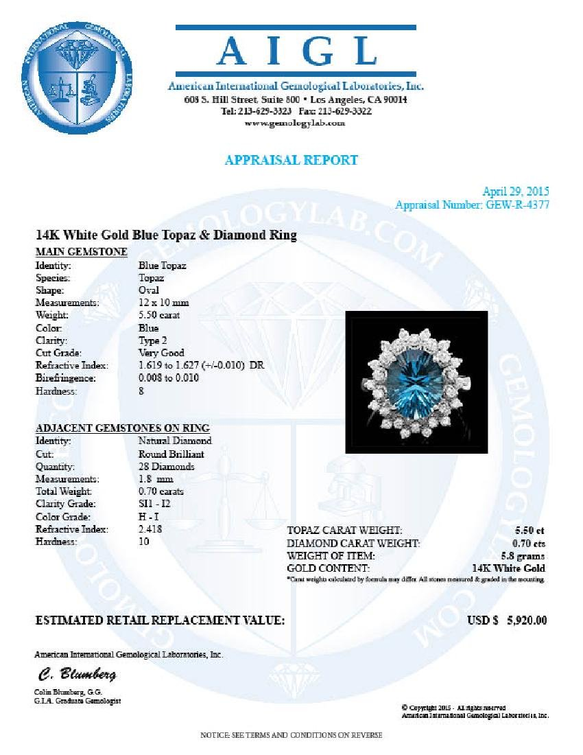14k White Gold 5.50ct Topaz 0.70ct Diamond Ring - 4