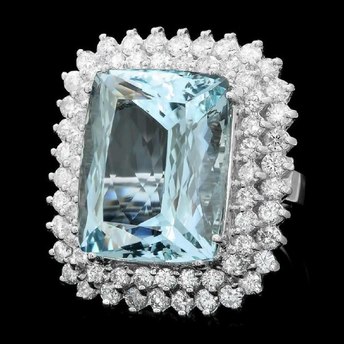 14k Gold 21.00ct Aquamarine 3.00ct Diamond Ring