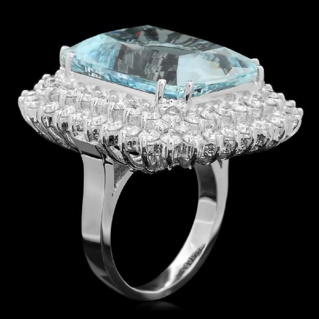 14k Gold 21.00ct Aquamarine 3.00ct Diamond Ring - 2