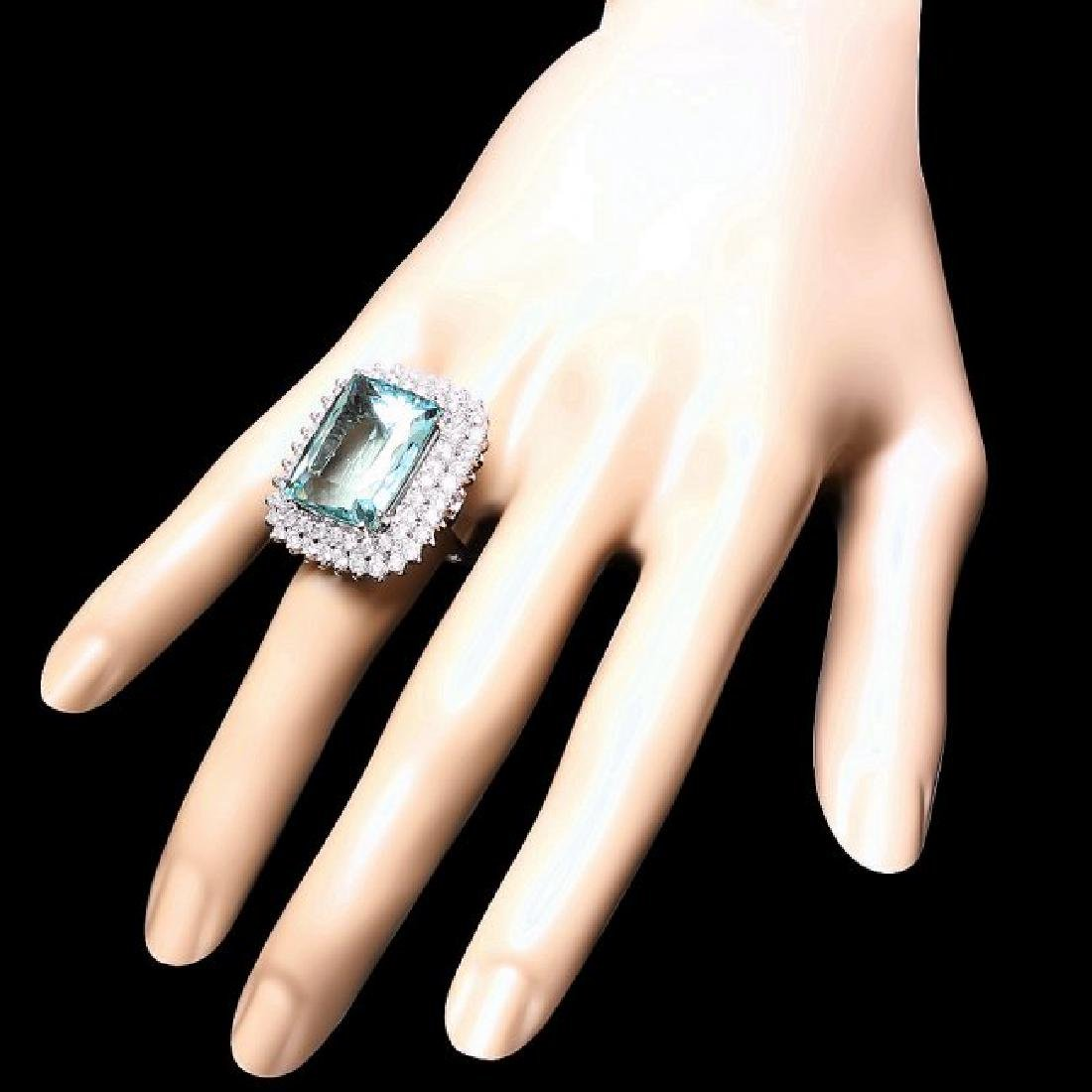 14k Gold 21.00ct Aquamarine 3.00ct Diamond Ring - 3