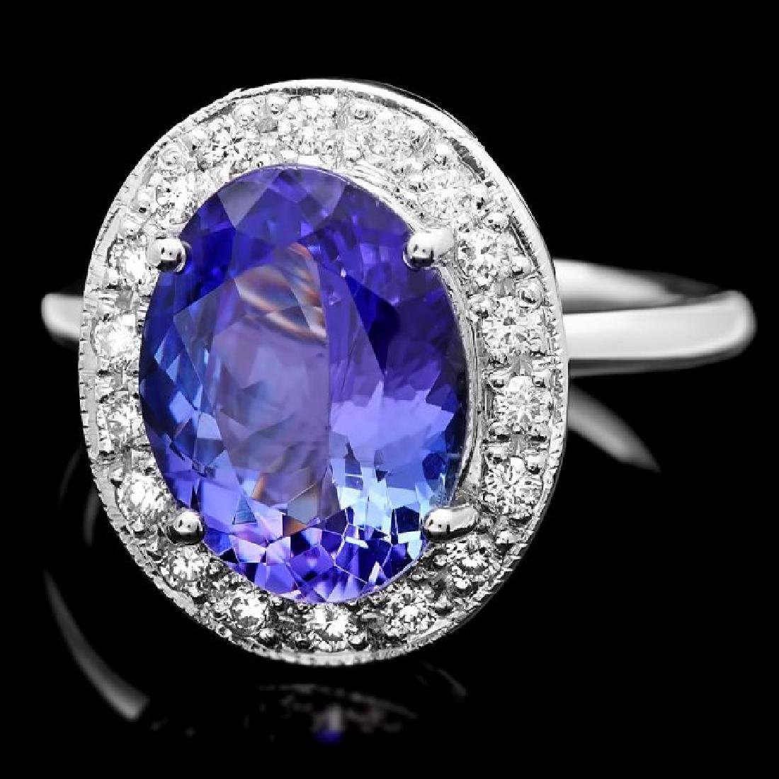14k Gold 4.00ct Tanzanite 0.35ct Diamond Ring