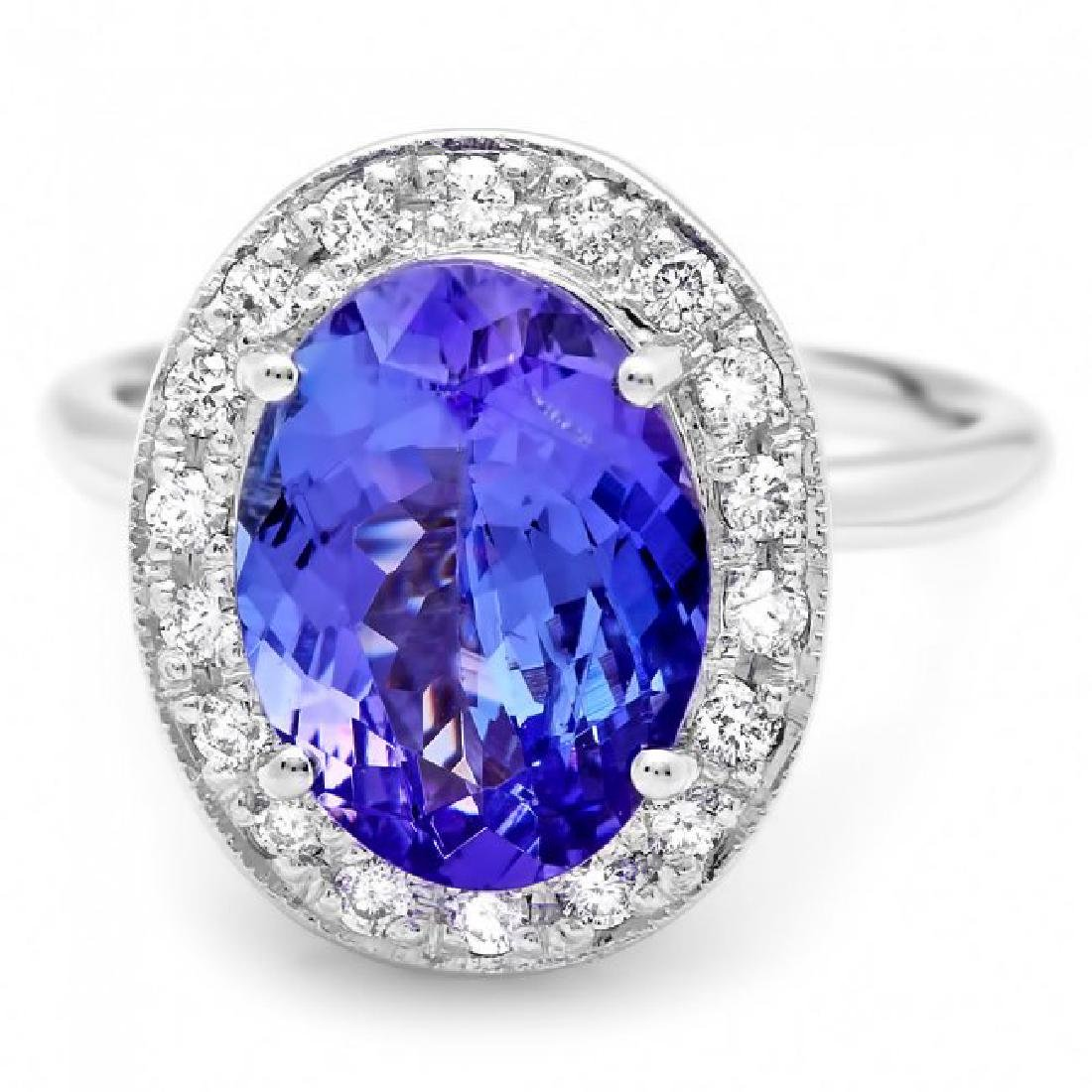 14k Gold 4.00ct Tanzanite 0.35ct Diamond Ring - 2