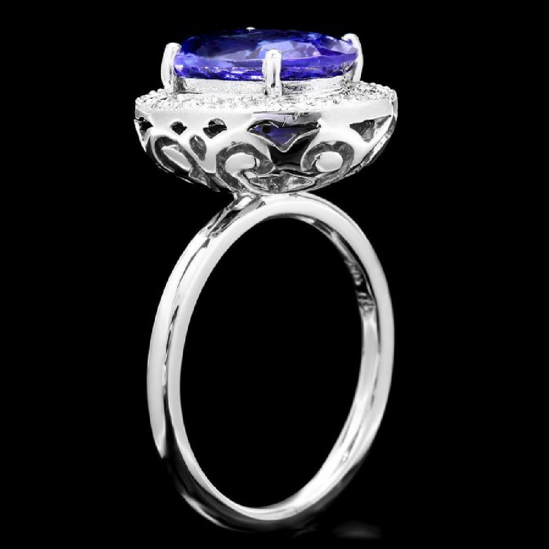 14k Gold 4.00ct Tanzanite 0.35ct Diamond Ring - 3