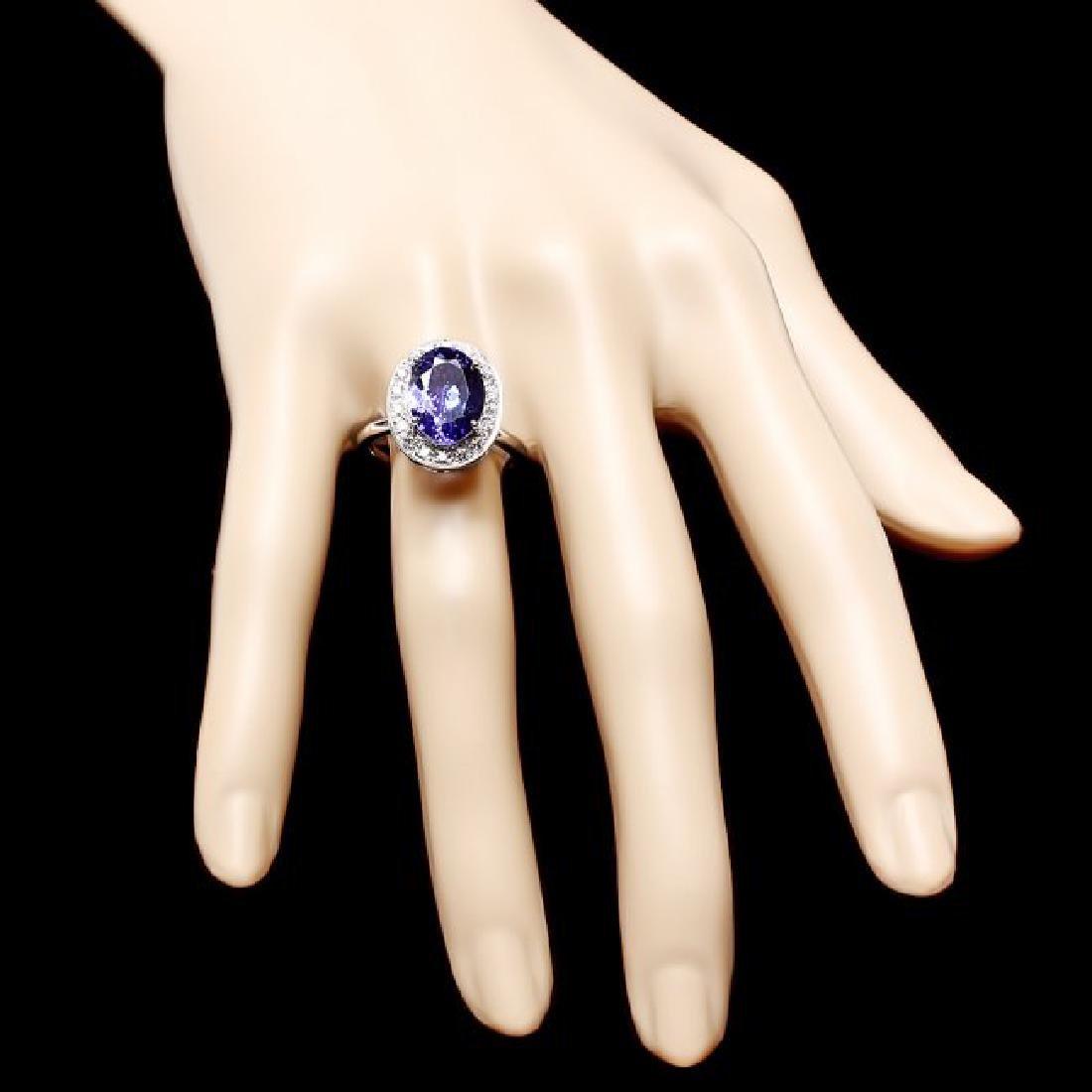 14k Gold 4.00ct Tanzanite 0.35ct Diamond Ring - 4