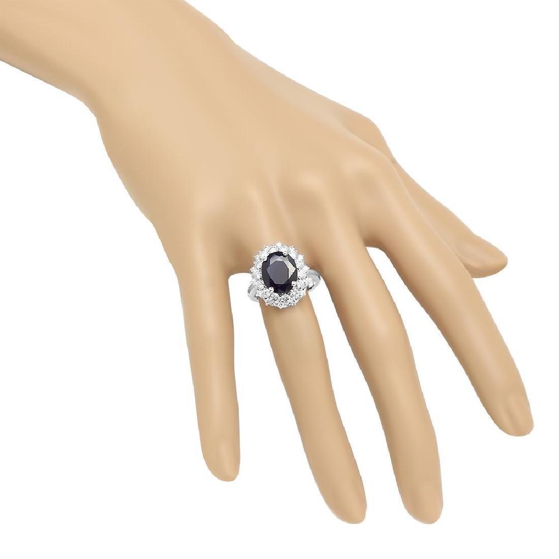 14K Gold 6.46ct Sapphire 1.42cts Diamond Ring - 3