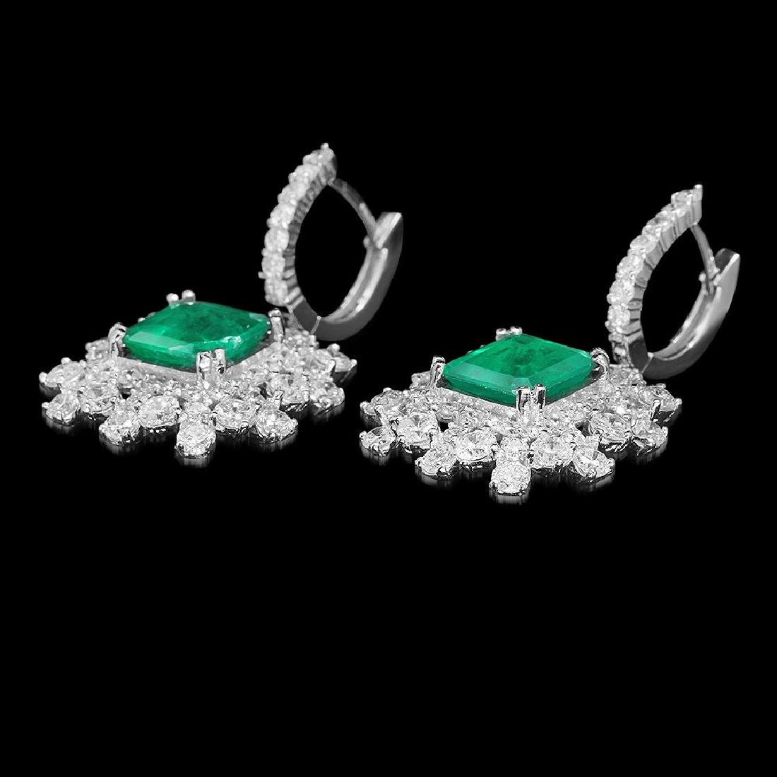 14K Gold 5.68ct Emerald 5.75ct Diamond Earrings - 2