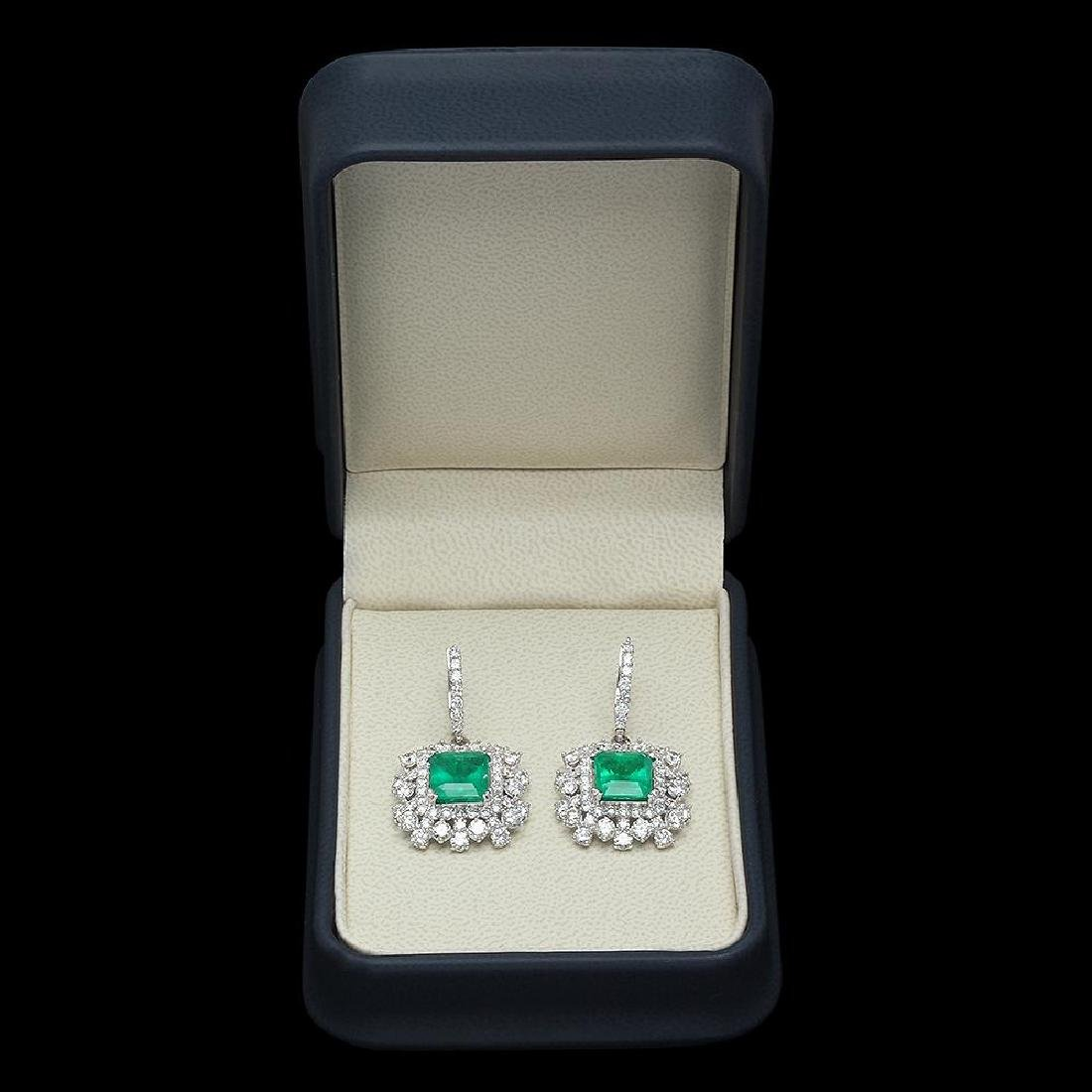 14K Gold 5.68ct Emerald 5.75ct Diamond Earrings - 3