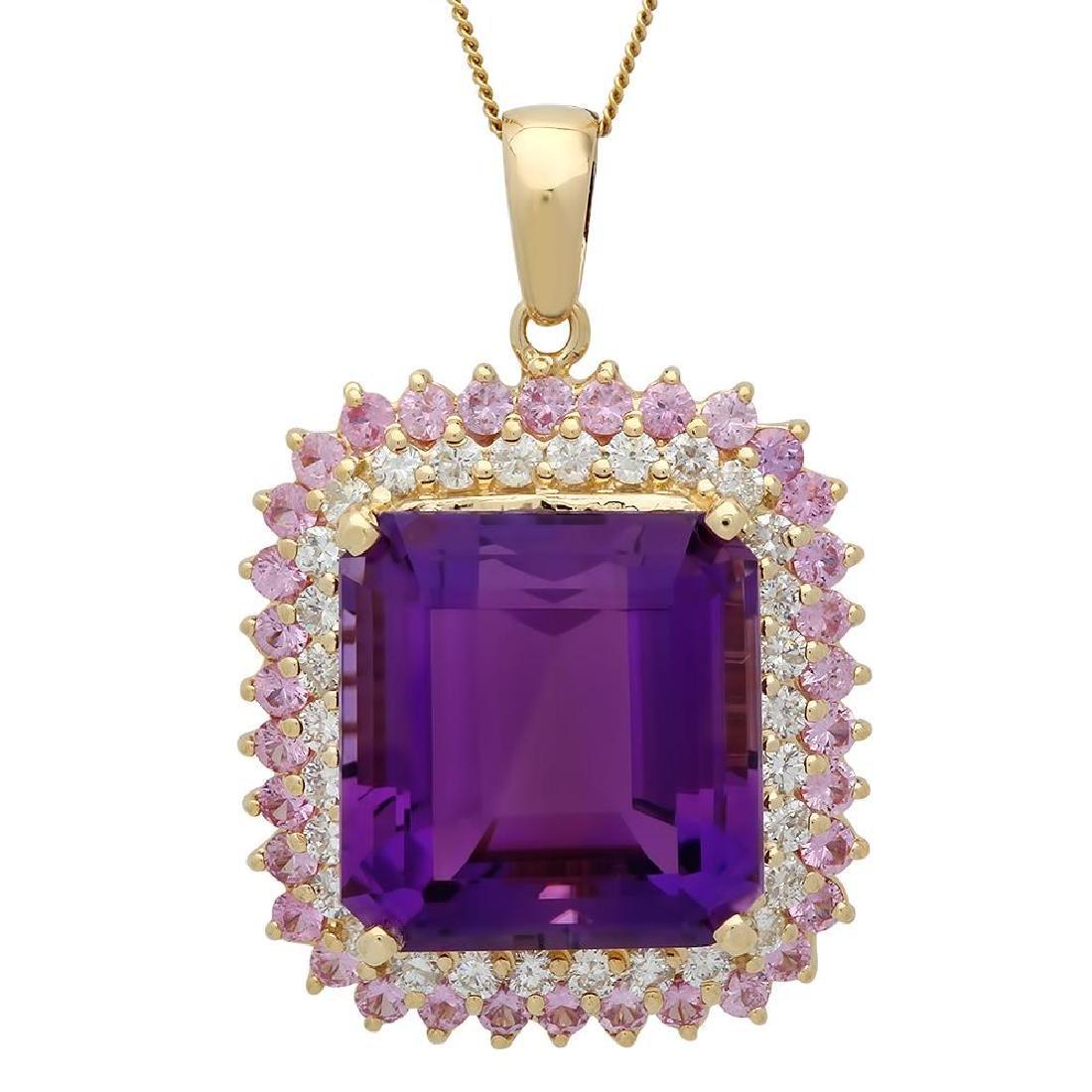14K Gold 26.16ct Amethyst 2.05ct Sapphire 1.45ct